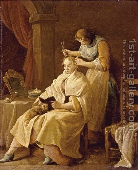 A Lady At Her Toilet by (after) Giuseppe Gambarini - Reproduction Oil Painting