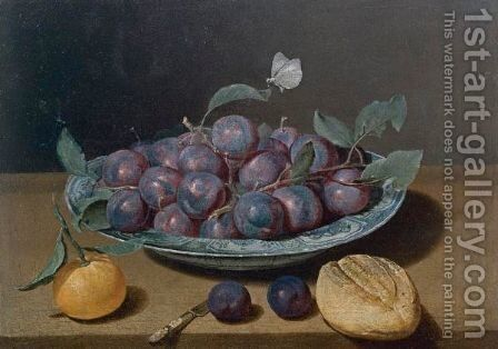 Still Life Of A Plate Of Plums And A Loaf Of Bread by (after) Jacques Linard - Reproduction Oil Painting