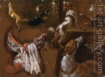 Studies Of Spaniels And  Whippets, And A Study Of A White Headdress by (after) Hyacinthe Rigaud - Reproduction Oil Painting