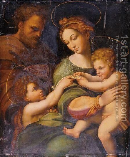 Holy Family With Saint John The Baptist by (after) Raphael (Raffaello Sanzio of Urbino) - Reproduction Oil Painting