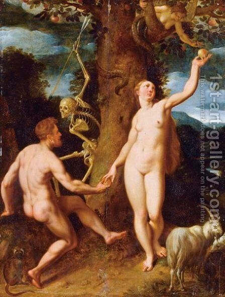 The Fall Of Man by (after) Cornelis Cornelisz Van Haarlem - Reproduction Oil Painting