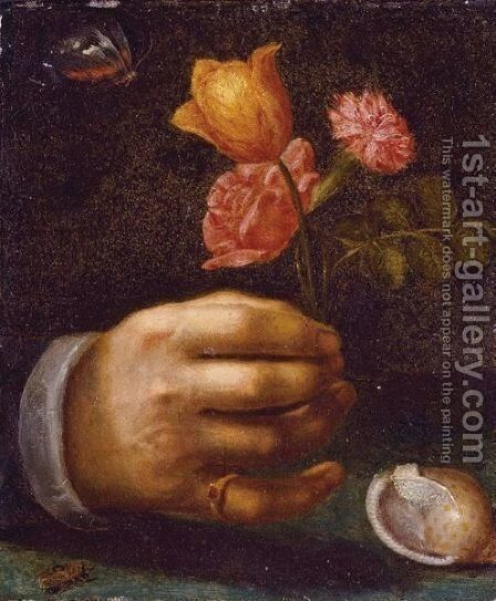A Hand Holding A Bouquet Of Flowers by Dutch School - Reproduction Oil Painting