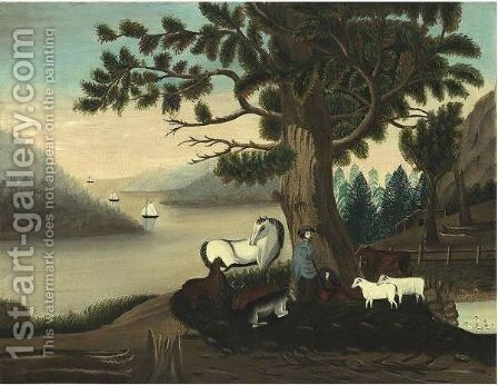 A Bucolic Scene White Horse, Shepherd, Sheep And Cows Beneath  Leafy Tree by American School - Reproduction Oil Painting