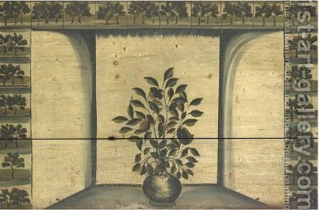 A Pot Of Flowers In A Recessed Fireplace Surrounded By Tiles Of Trees by American School - Reproduction Oil Painting