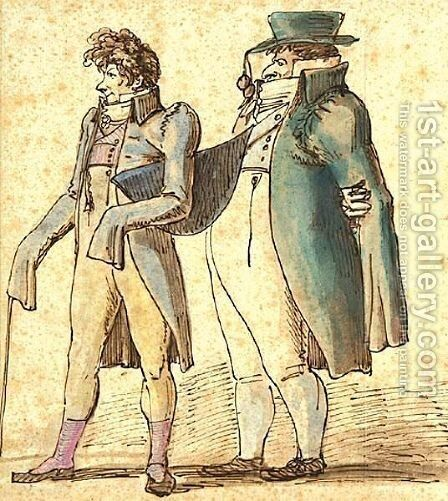 Caricature Of Two Dandies by Johan Tobias Sergel - Reproduction Oil Painting