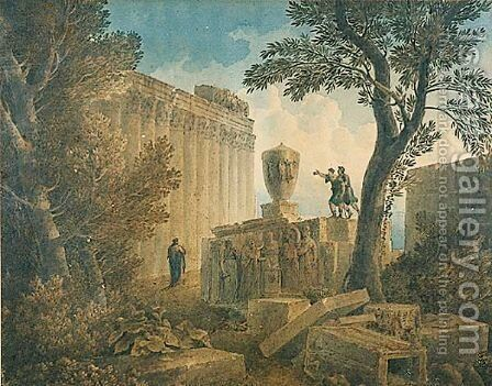 Capriccio With Three Figures by (after) Charles-Louis Clerisseau - Reproduction Oil Painting