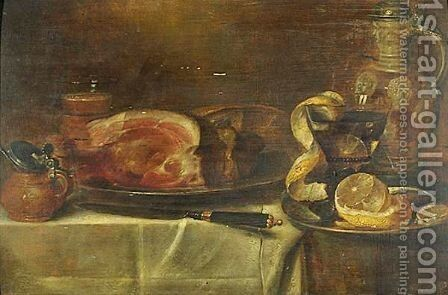 Still Life Of A Ham On A Pewter Plate And Other Objects, All On A Draped Table by (after) Alexander Adriaenssen - Reproduction Oil Painting