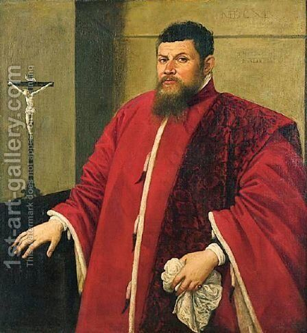 Portrait Of A Venetian Senator, Standing Beside A Table by (after) Domenico Tintoretto (Robusti) - Reproduction Oil Painting