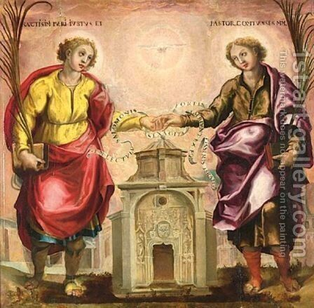 Saints Justus And Pastor, The Patron Saints Of Madrid by Spanish School - Reproduction Oil Painting