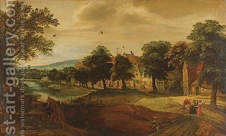 Abraham Meeting The Angels By A Village, An Extensive Landscape Beyond by (after) Jacques Backereel - Reproduction Oil Painting