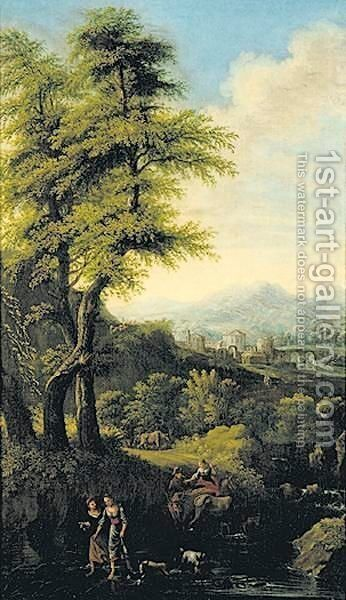 Landscape With Travelers Fording A Stream by (after) Andrea Locatelli - Reproduction Oil Painting
