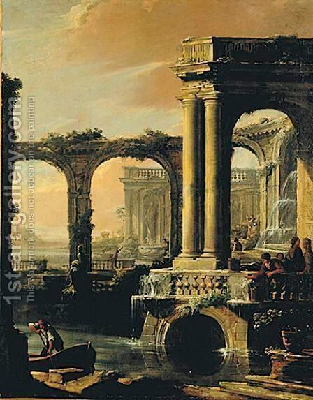 Architectural Capriccio With Waterfalls by (after) Antonio Joli - Reproduction Oil Painting