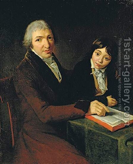 Portrait Of M. Maubach And His Son by (after) David, Jacques Louis - Reproduction Oil Painting