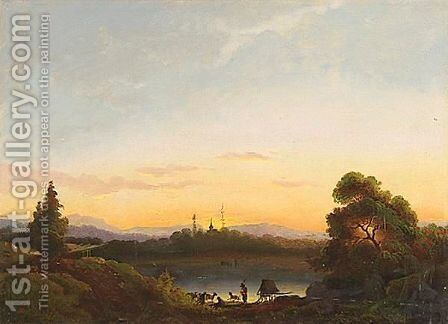 Landscape With Shepherd By A Lake At Dusk, With A Church Beyond by Continental School - Reproduction Oil Painting