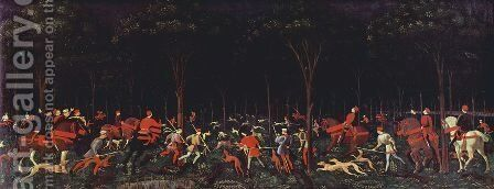 The Hunt in the Forest 1460s by Paolo Uccello - Reproduction Oil Painting