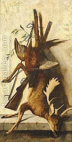 Still Lives With Boar And Deer A Pair by Michaelangelo Meucci - Reproduction Oil Painting