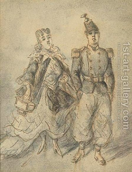 The Soldier And His Girl by Constantin Guys - Reproduction Oil Painting