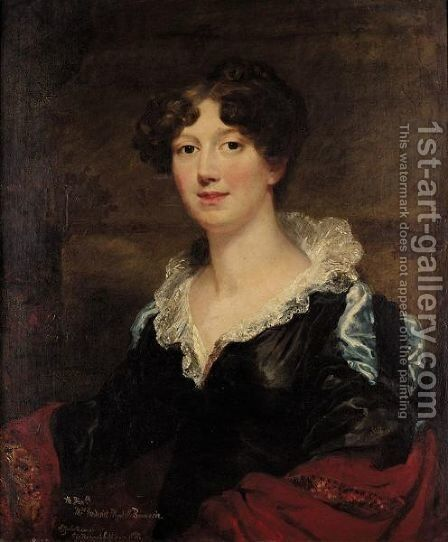 Portrait Of The Honourable Mrs Frederick Pleydell Bouverie, Elizabeth Daughter Of Sir Richard Sullivan, 1st Bt by English School - Reproduction Oil Painting