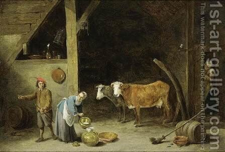A Barn Interior 1650s by David The Younger Teniers - Reproduction Oil Painting