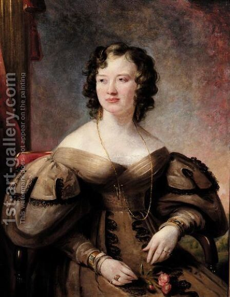 Portrait Of A Lady, Possibly Lady Lewin by (after) Margaret Sarah Carpenter - Reproduction Oil Painting