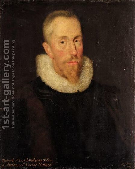 Portrait Of Patrick Leslie, 1st Lord Lindores by (after) George Jamesone - Reproduction Oil Painting