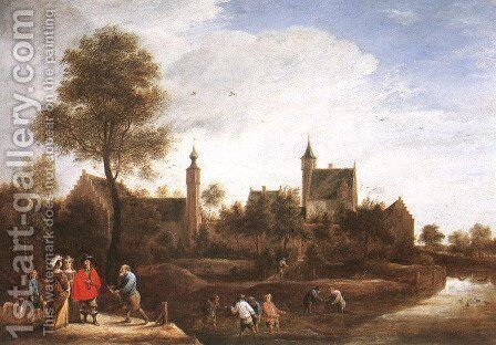 A View of Het Sterckshof near Antwerp c. 1646 by David The Younger Teniers - Reproduction Oil Painting