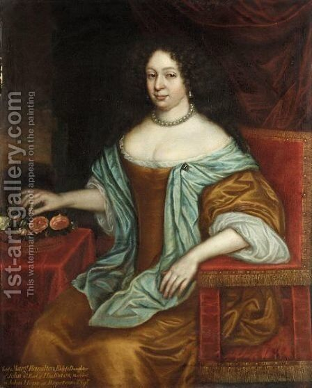 Portrait Of Lady Margaret Hamilton, Eldest Daughter Of John, 4th Earl Of Haddington by (after) L. Schunemann - Reproduction Oil Painting