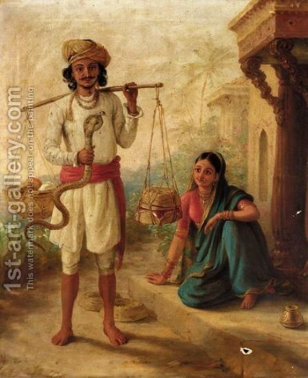 The Snake Charmer by B. F. Green - Reproduction Oil Painting