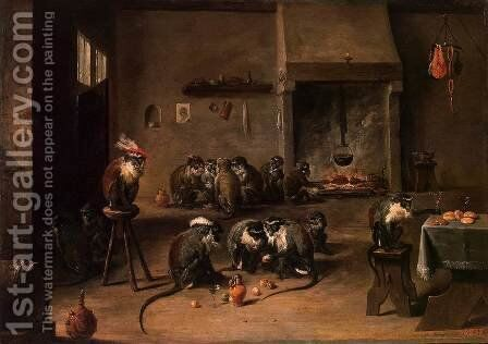 Apes in the Kitchen by David The Younger Teniers - Reproduction Oil Painting