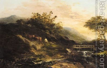 The Shepherd And His Cattle by (after) Thomas Barker Of Bath - Reproduction Oil Painting