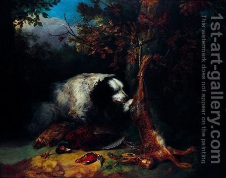 A Spaniel Guarding Game by Stephen Elmer - Reproduction Oil Painting