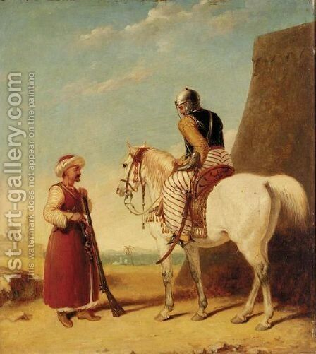 Two Mamluk Soldiers Outside A Walled Town by Abraham Cooper - Reproduction Oil Painting