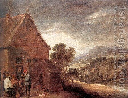Before the Inn by David The Younger Teniers - Reproduction Oil Painting