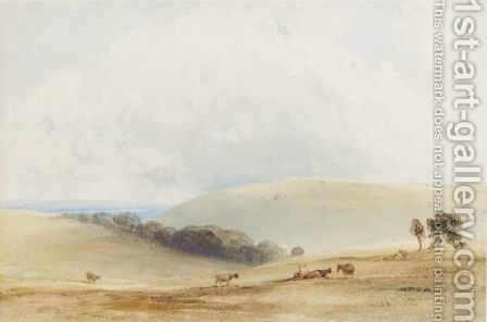 Cattle Grazing On The South Downs by Anthony Vandyke Copley Fielding - Reproduction Oil Painting
