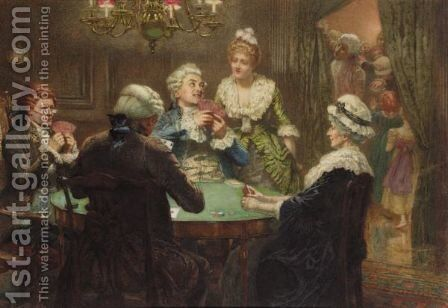 The Whist Party by Edward Frederick Brewtnall - Reproduction Oil Painting