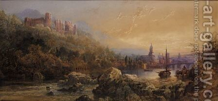 The Castle And Town Of Heidelberg On The Neckar by Edward M. Richardson - Reproduction Oil Painting