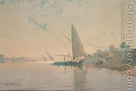 On The Nile - Near Aswan by Augustus Osborne Lamplough - Reproduction Oil Painting