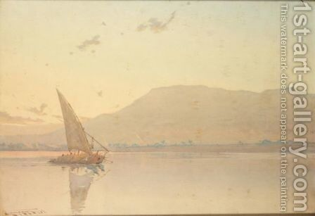 Skies Yet Blushing With Departed Light - Luxor by Augustus Osborne Lamplough - Reproduction Oil Painting