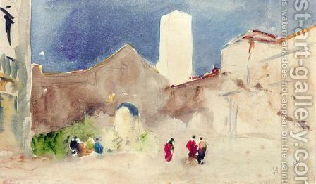 Town Scene With Tower by Hercules Brabazon Brabazon - Reproduction Oil Painting
