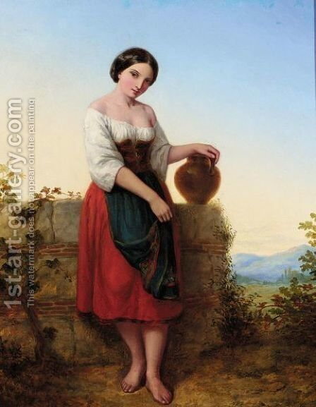 Girl With Water Jug by (after) Augustus Jules Bouvier - Reproduction Oil Painting