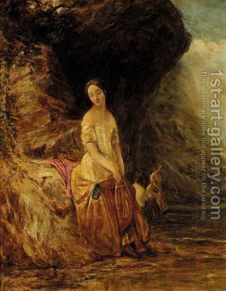 Three Ladies By A Lake by (after) Alfred Joseph Woolmer - Reproduction Oil Painting