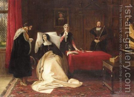 Katherine Of Aragon In Her Bed Chamer At Kimbolton Castle by Charles Robert Leslie - Reproduction Oil Painting