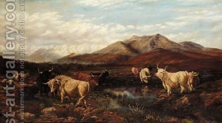 Highland Cattle Watering by (after) Henry William Banks Davis - Reproduction Oil Painting