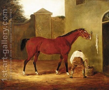 Horse And Groom by E.B. Ladbrooke - Reproduction Oil Painting