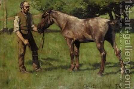 Foal And Groom by Charles Wellington Furse - Reproduction Oil Painting