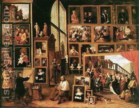 The Gallery of Archduke Leopold in Brussels 1639 by David The Younger Teniers - Reproduction Oil Painting