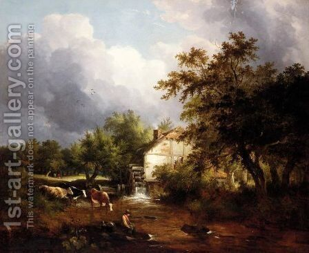 A Fisherman On The Riverbank, A Water Mill And Cattle Beyond by Edward Charles Williams - Reproduction Oil Painting