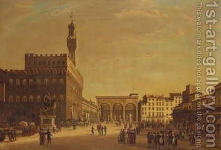 Piazza Della Signoria, Florence by Giuseppe Gherardi - Reproduction Oil Painting