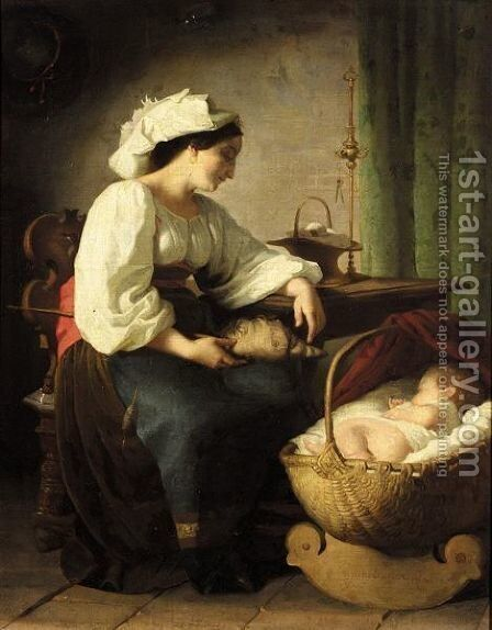 The Peaceful Slumber by Giuseppe Mazzolini - Reproduction Oil Painting