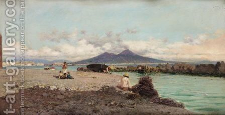 The Bay Of Naples by Giuseppe Laezza - Reproduction Oil Painting